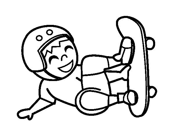 Dibujo de Salto con monopatín para Colorear - Dibujos.net