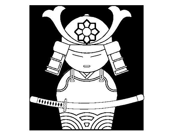 Dibujo de Samurái chino para Colorear - Dibujos.net