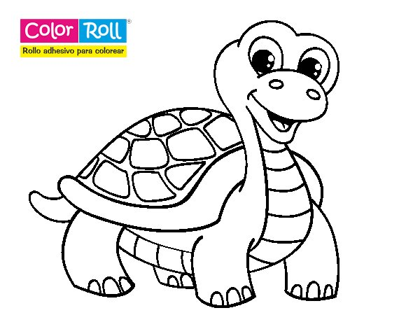 Dibujos De Tortugas Infantiles Para Colorear: Dibujo De Tortuga Color Roll Para Colorear