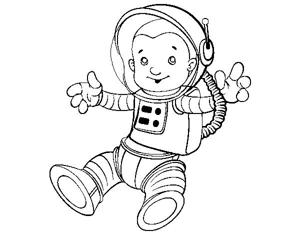 Cohete De Astronauta Y Vintage De Dibujos Animados: Dibujo De Un Astronauta En El Espacio Para Colorear