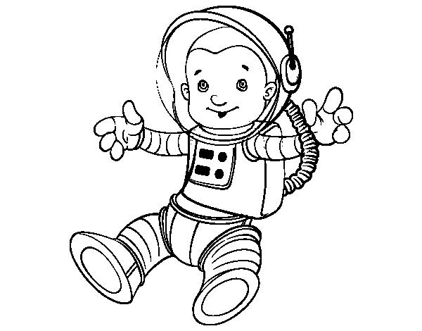 Dibujo de Un astronauta en el espacio para Colorear - Dibujos.net