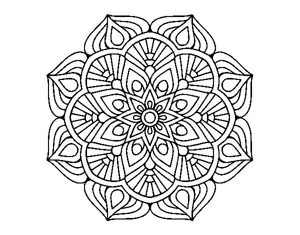 Dibujos Para Colorear De Flora: Dibujo De Un Mandala De Flor Oriental Para Colorear