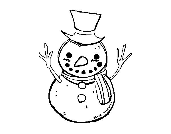 Muñeco De Nieve Dibujo: Dibujo De Un Muñeco De Nieve Con Sombrero Para Colorear