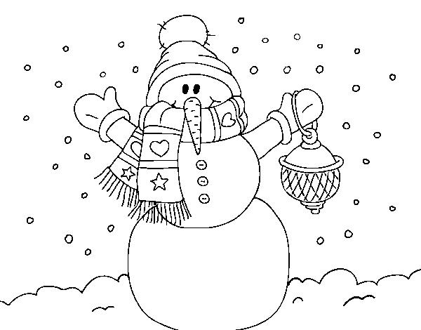 Muñeco De Nieve Dibujo: Dibujo De Un Muñeco De Nieve Navideño Para Colorear