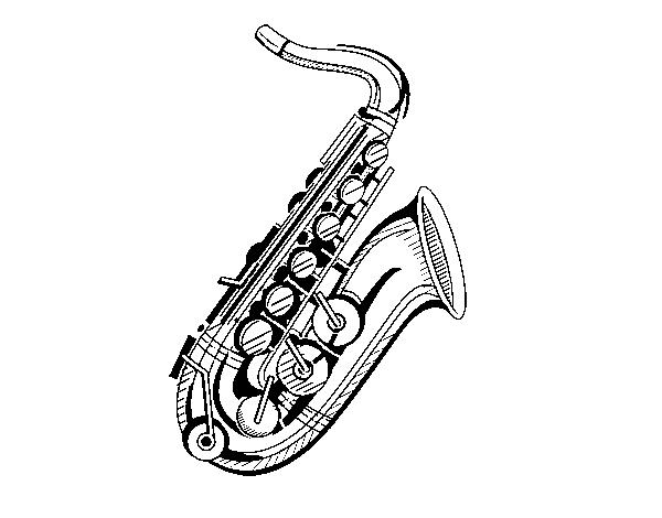 Dibujo De Un Saxofón Para Colorear Dibujosnet