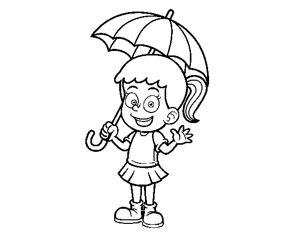Dibujo De Una Niña Con Paraguas Para Colorear