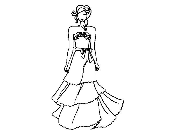 dibujo de vestido de boda palabra de honor para colorear - dibujos