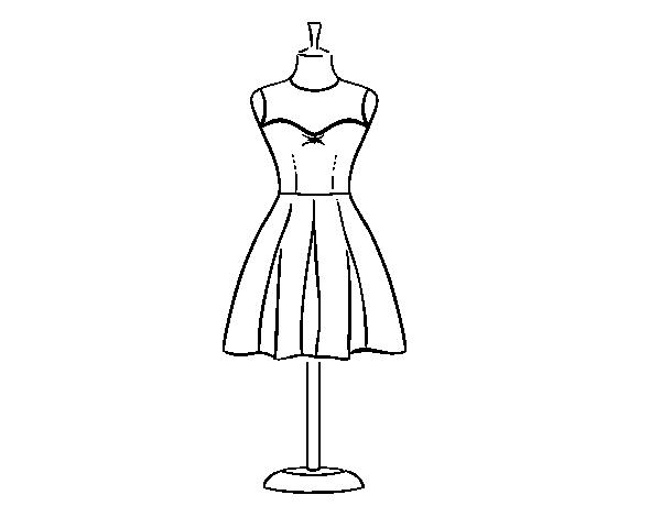Dibujo de Vestido palabra de honor para Colorear - Dibujos.net
