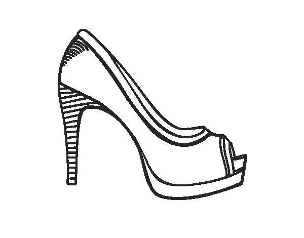 Dibujo De Zapato De Plataforma Para Colorear