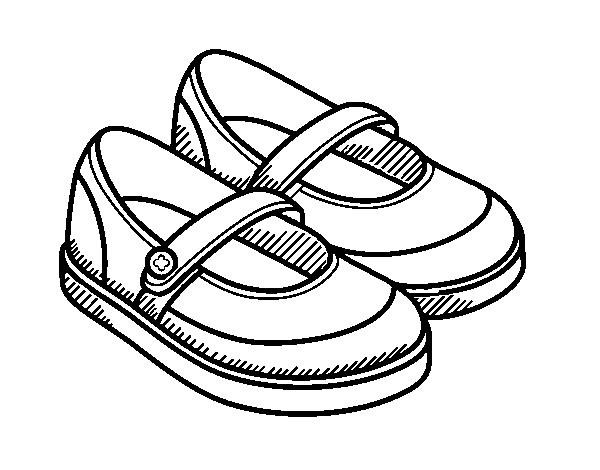 Dibujo Para Colorear De Niñas: Dibujo De Zapatos De Niña Para Colorear
